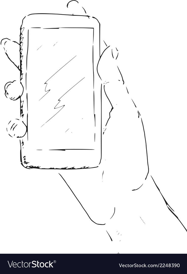 Hand with smartphone vector | Price: 1 Credit (USD $1)