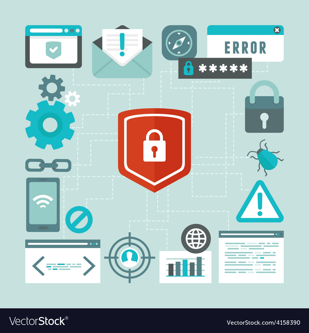 Internet and information security concept in flat vector | Price: 1 Credit (USD $1)