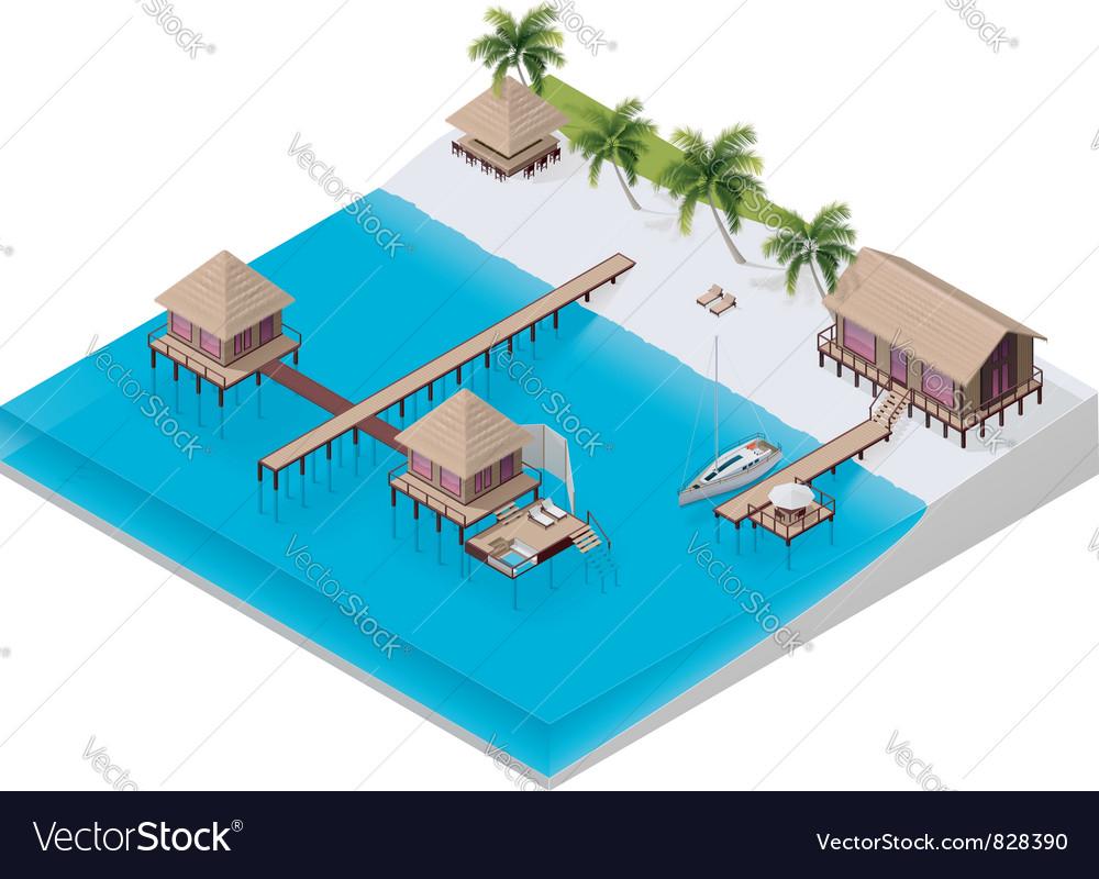 Isometric tropical resort vector | Price: 3 Credit (USD $3)