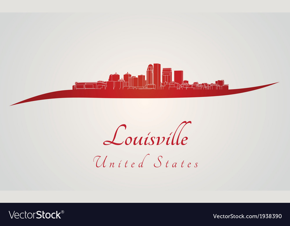 Louisville skyline in red vector | Price: 1 Credit (USD $1)