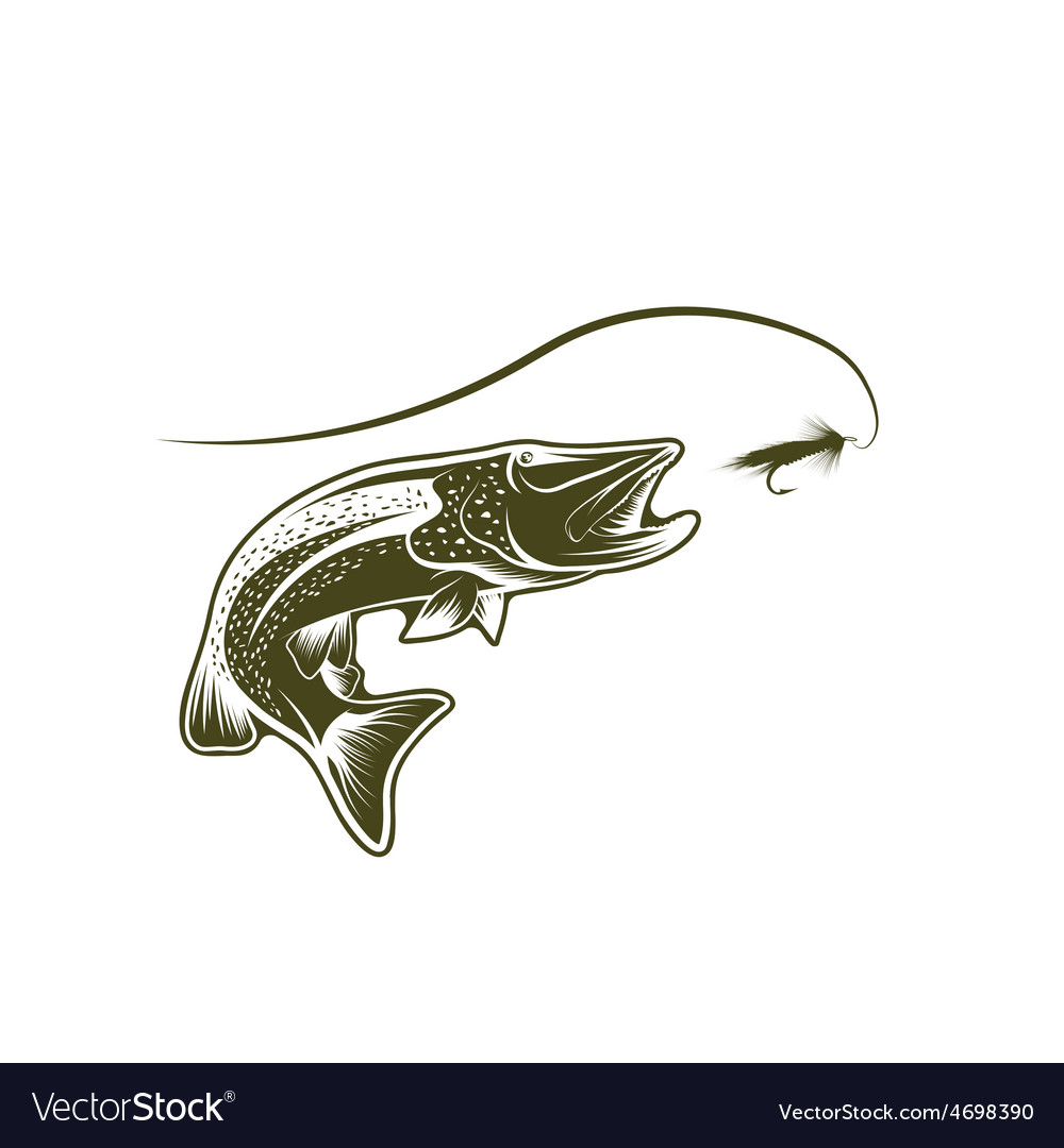 Pike and lure design template vector | Price: 1 Credit (USD $1)