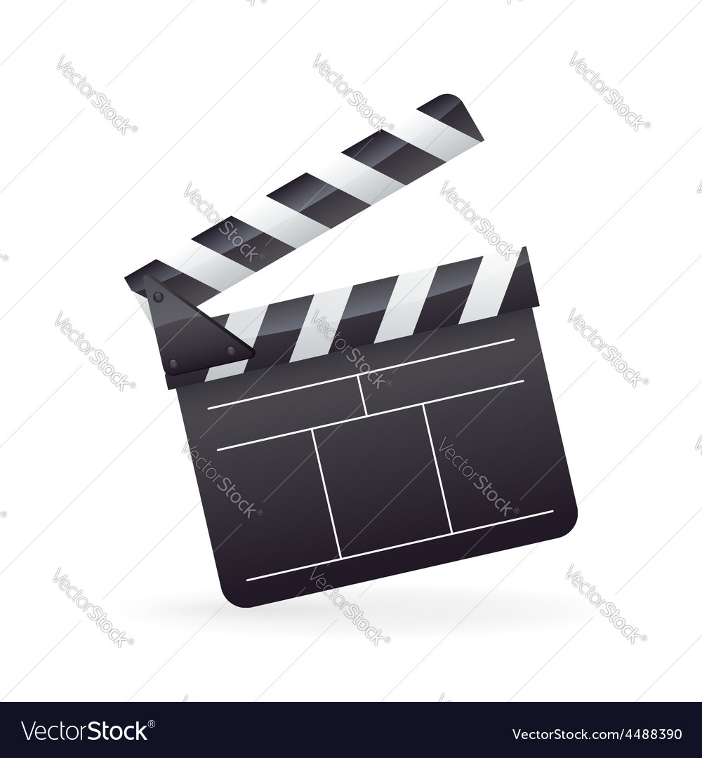Realistic detailed cinema film clapper icon vector
