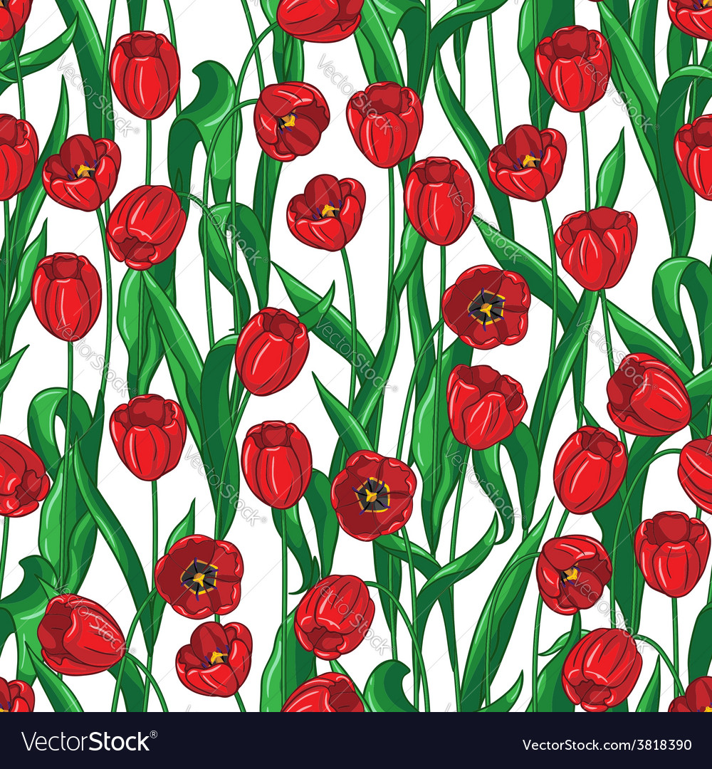 Red tulip pattern vector | Price: 1 Credit (USD $1)