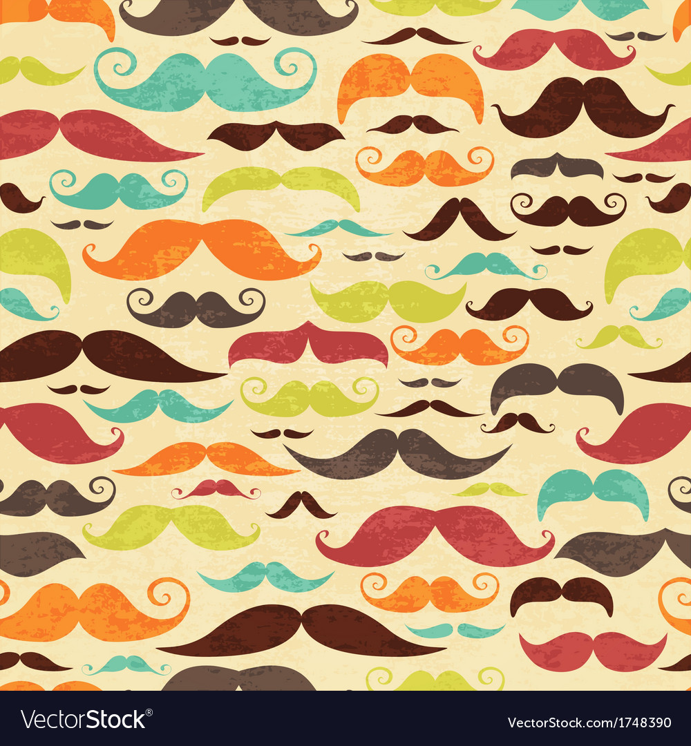 Seamless moustashe background in vintage style vector