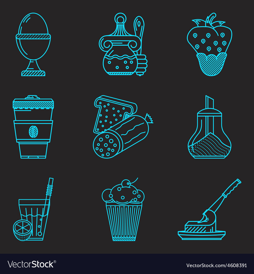 Blue line icons for breakfast menu vector | Price: 1 Credit (USD $1)