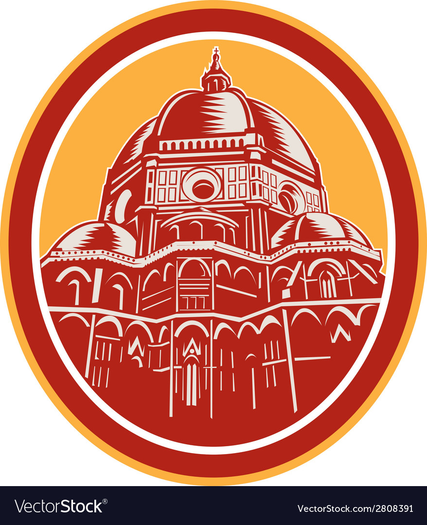 Dome of florence cathedral front woodcut vector | Price: 1 Credit (USD $1)