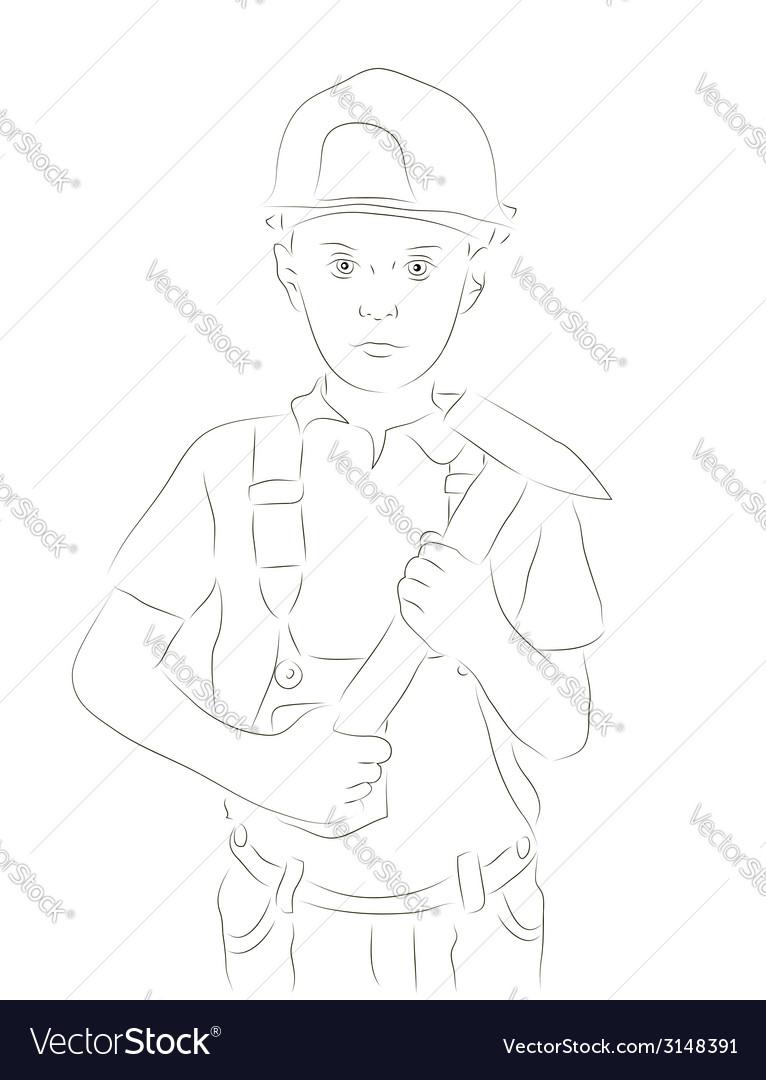 Engineer boy sketch vector | Price: 1 Credit (USD $1)