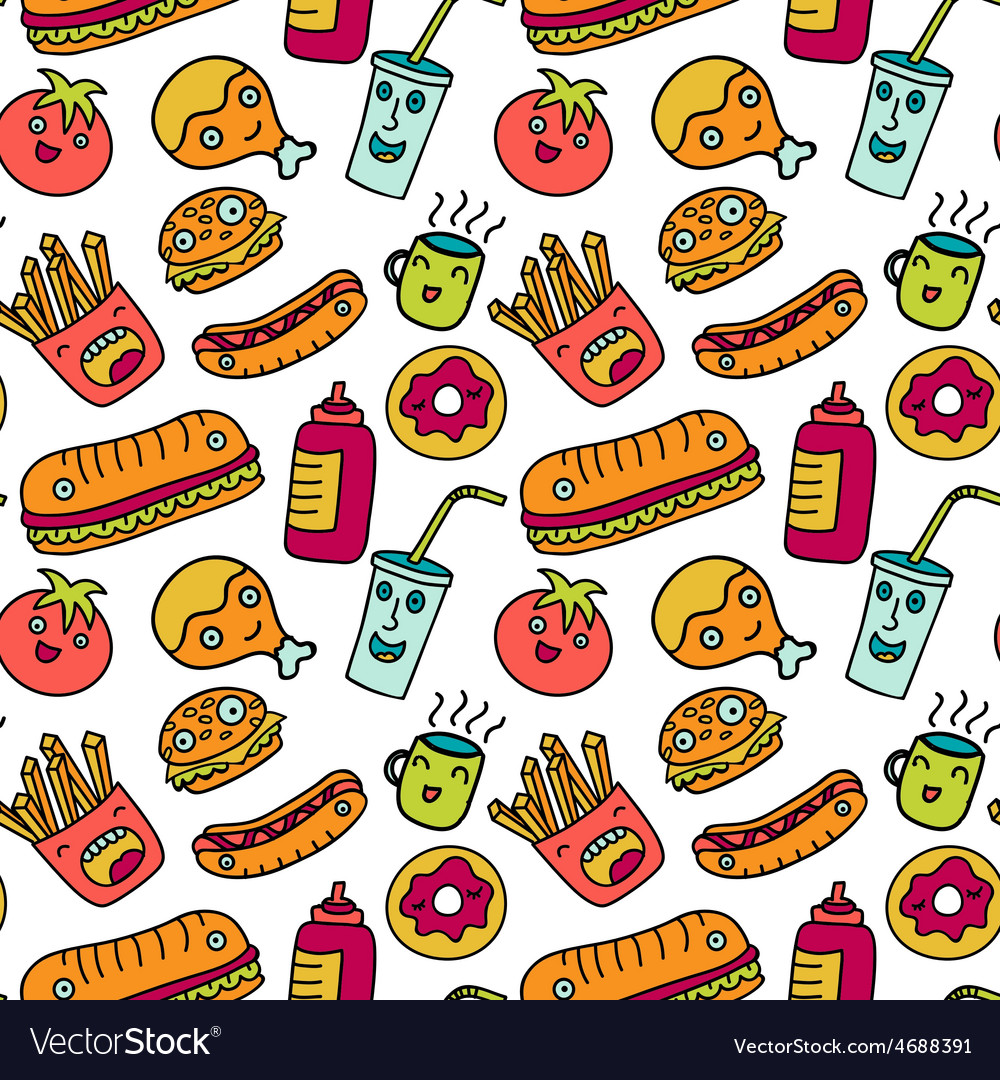 Fast food seamless background funny cartoon vector | Price: 1 Credit (USD $1)