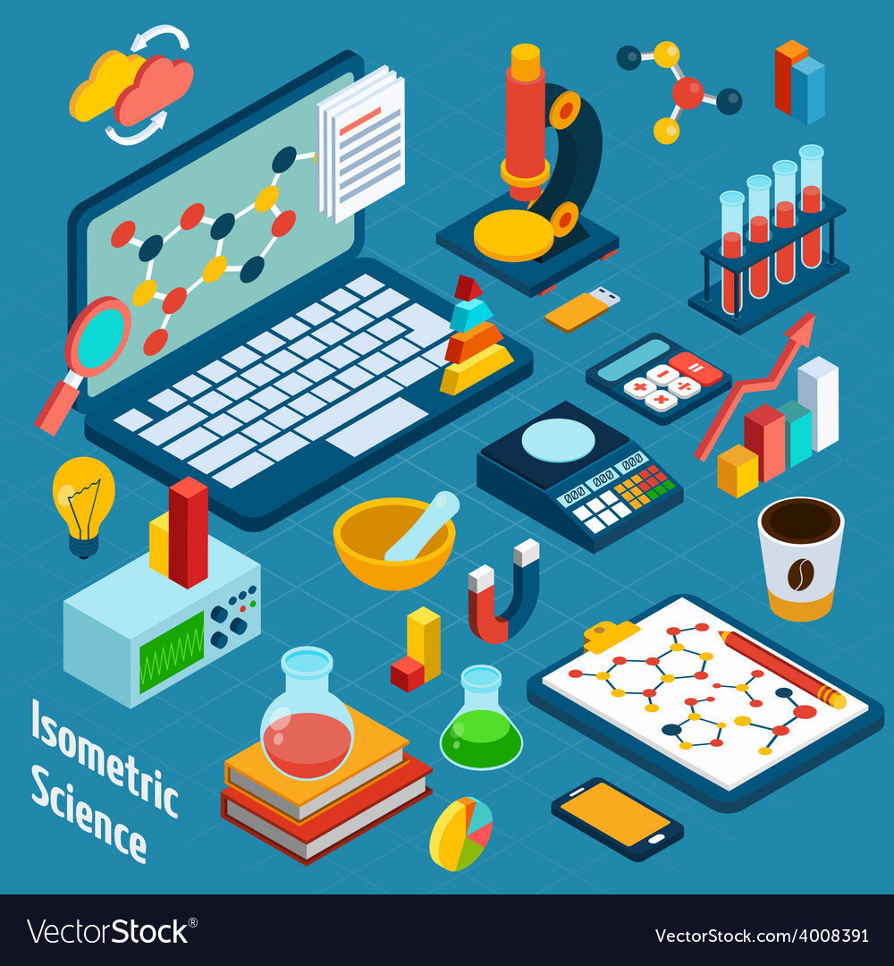 Isometric science workplace vector | Price: 1 Credit (USD $1)