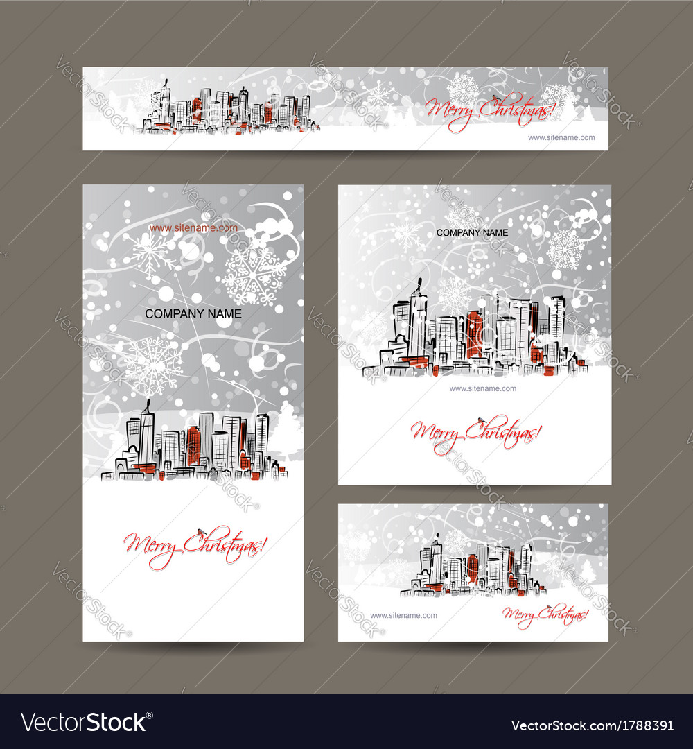Merry christmas set postcards with cityscape vector | Price: 1 Credit (USD $1)
