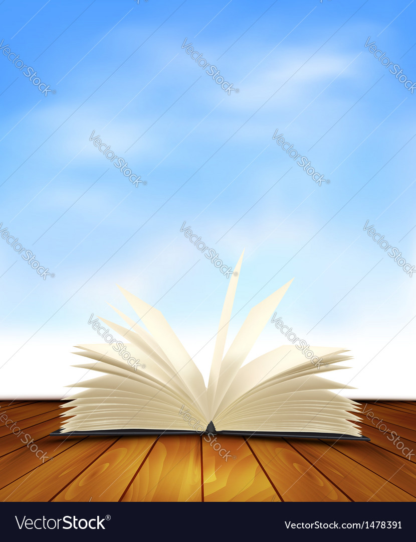 Open book on a wooden floor in front of a blue vector | Price: 1 Credit (USD $1)