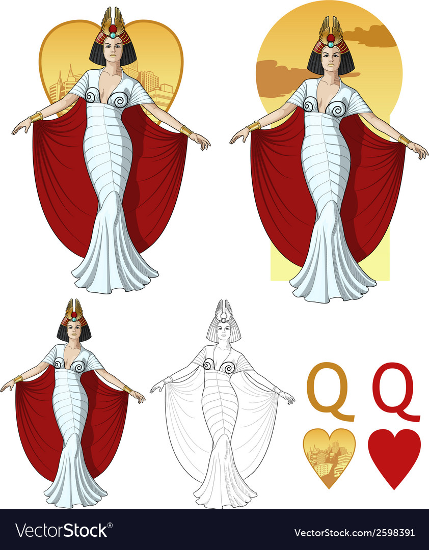 Queen of hearts actress mafia card set vector | Price: 3 Credit (USD $3)