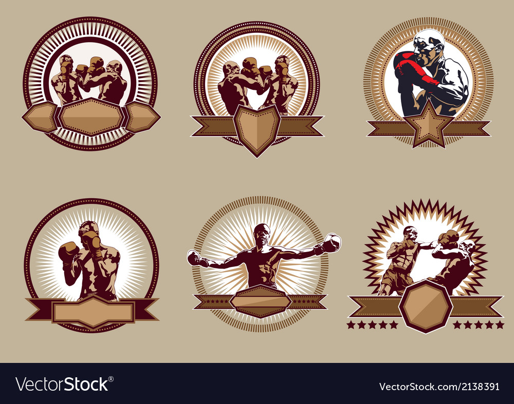 Set of combative sport icons or emblems vector | Price: 1 Credit (USD $1)