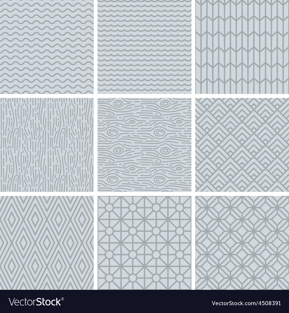 Set of simple mono line patterns vector | Price: 1 Credit (USD $1)