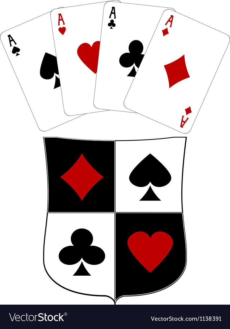 Shield and four aces vector | Price: 1 Credit (USD $1)