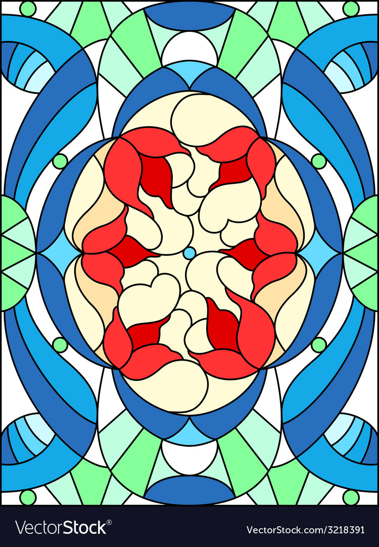 Stained glass window floral pattern composition of vector | Price: 1 Credit (USD $1)