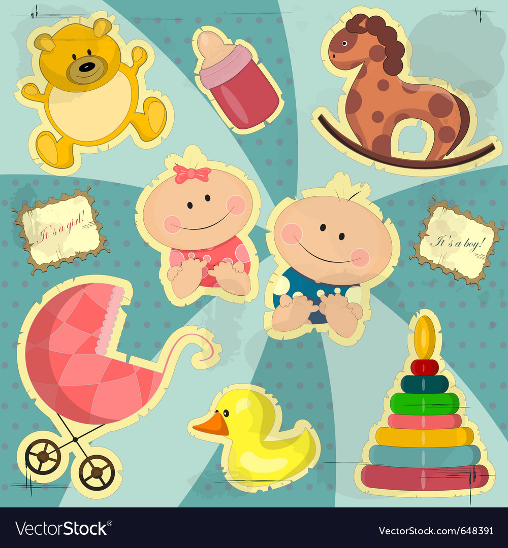 Vintage card for baby girl and boy vector | Price: 1 Credit (USD $1)