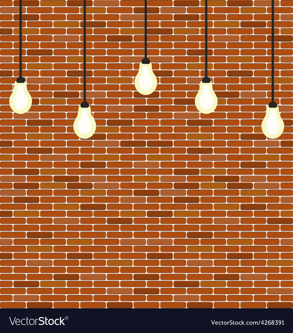 Wall brick with hanging bulbs decoration vector | Price: 1 Credit (USD $1)