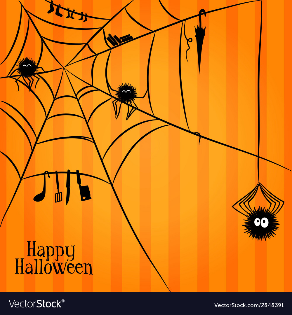 Web spiders and some things in halloween style vector | Price: 1 Credit (USD $1)