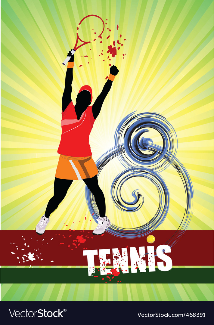 Woman's tennis vector | Price: 1 Credit (USD $1)