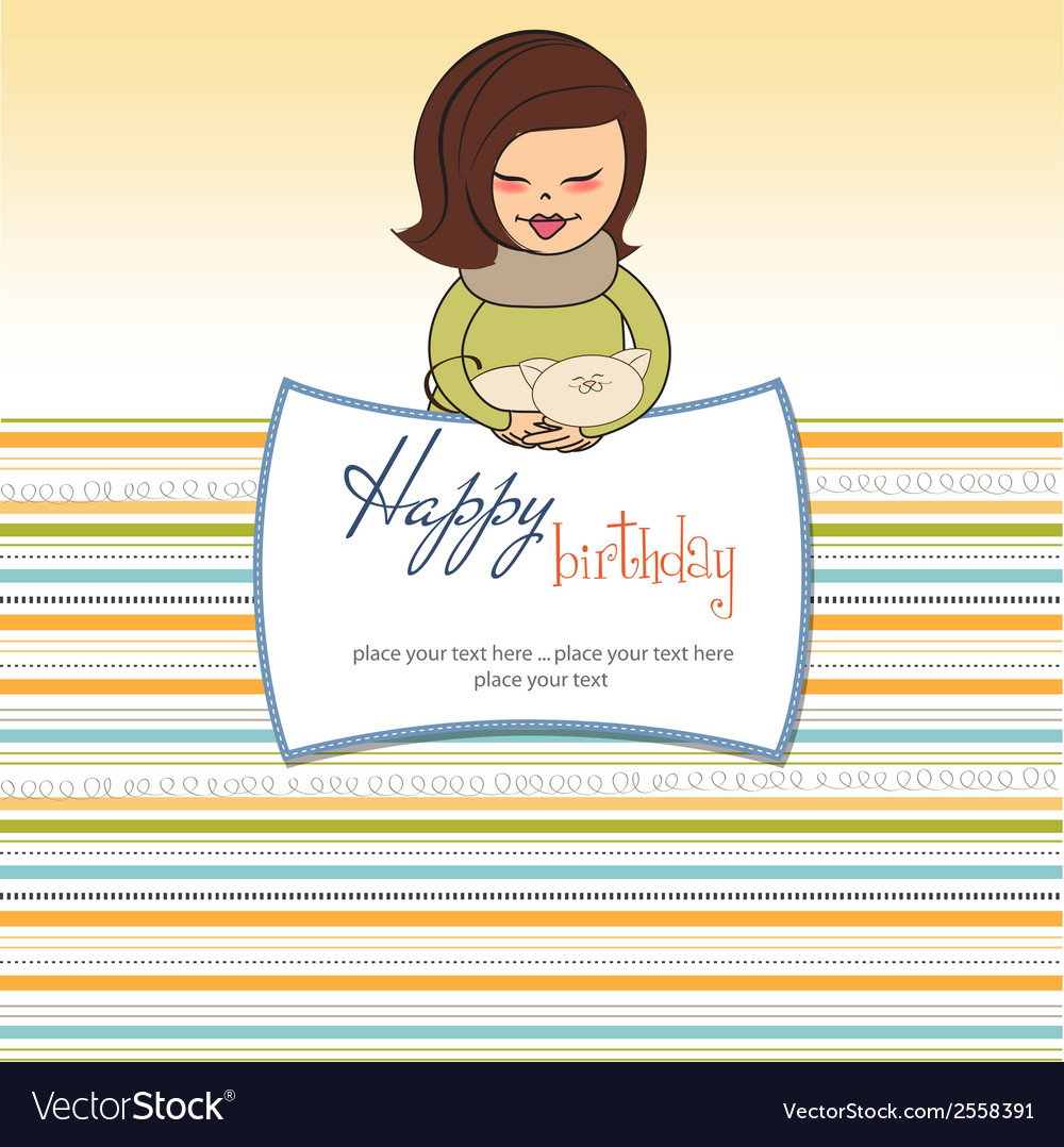 Young girl with she special gift vector | Price: 1 Credit (USD $1)