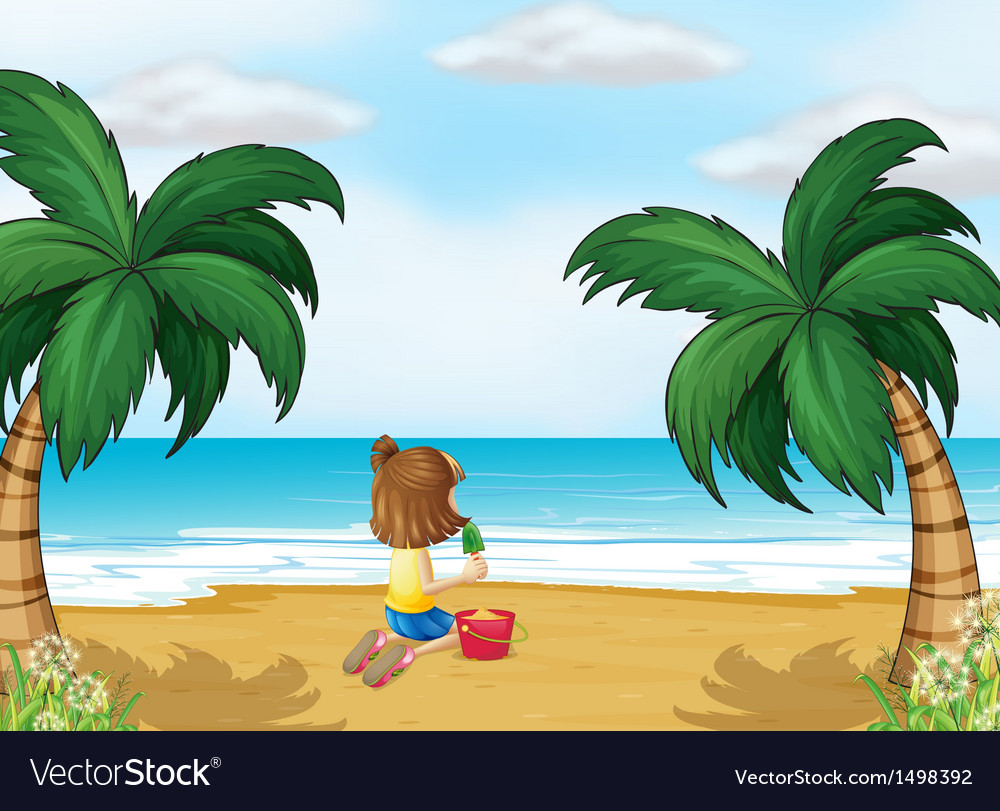 A little girl playing at the beach alone vector | Price: 1 Credit (USD $1)