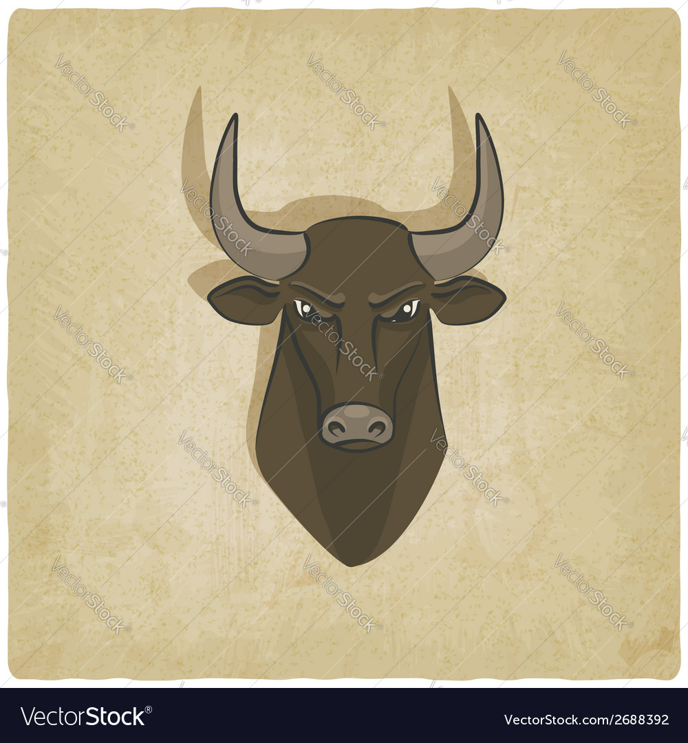 Bull head old background vector | Price: 1 Credit (USD $1)