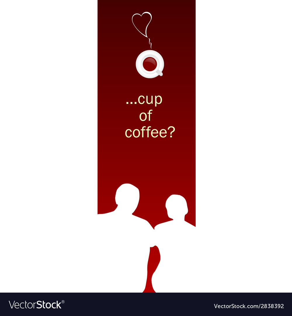 Card with white couple for coffee time vector | Price: 1 Credit (USD $1)