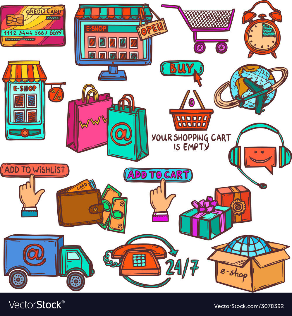 E-commerce icons set sketch vector | Price: 1 Credit (USD $1)