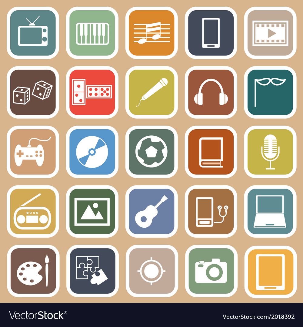 Entertainment flat icons on orange background vector | Price: 1 Credit (USD $1)