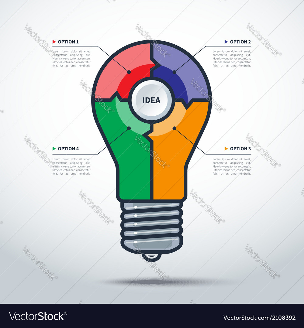Modern creative light bulb style infographics vector | Price: 1 Credit (USD $1)