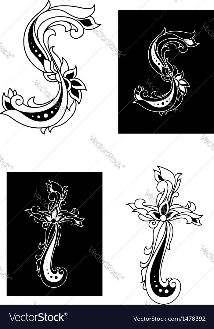 S and t decorative letters vector   Price: 1 Credit (USD $1)