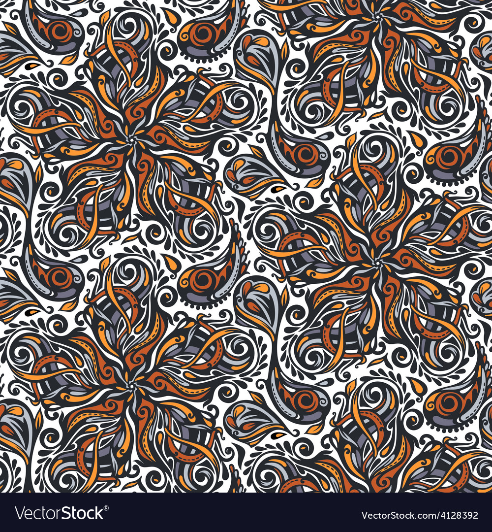 Seamless ornate floral pattern vector | Price: 1 Credit (USD $1)