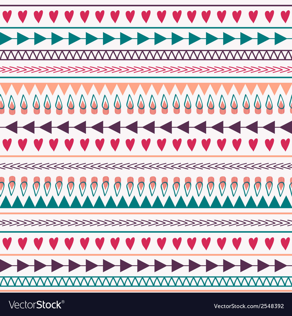 Seamless pattern with hearts lines arrows vector | Price: 1 Credit (USD $1)