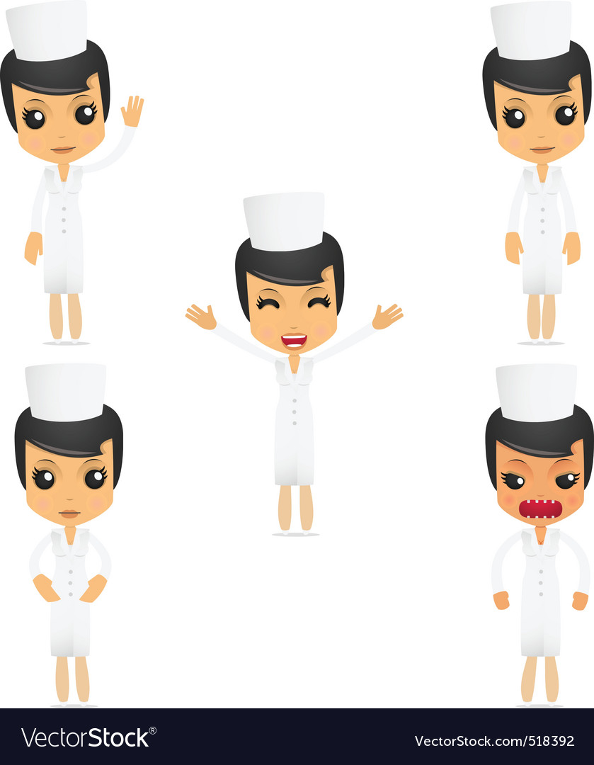 Set of funny cartoon nurse vector | Price: 1 Credit (USD $1)