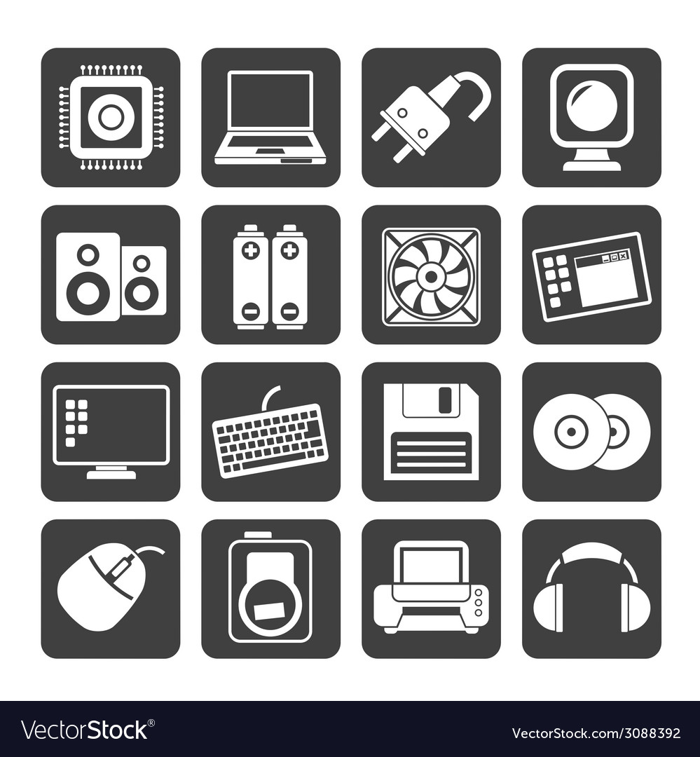 Silhouette computer items and accessories icons vector | Price: 1 Credit (USD $1)