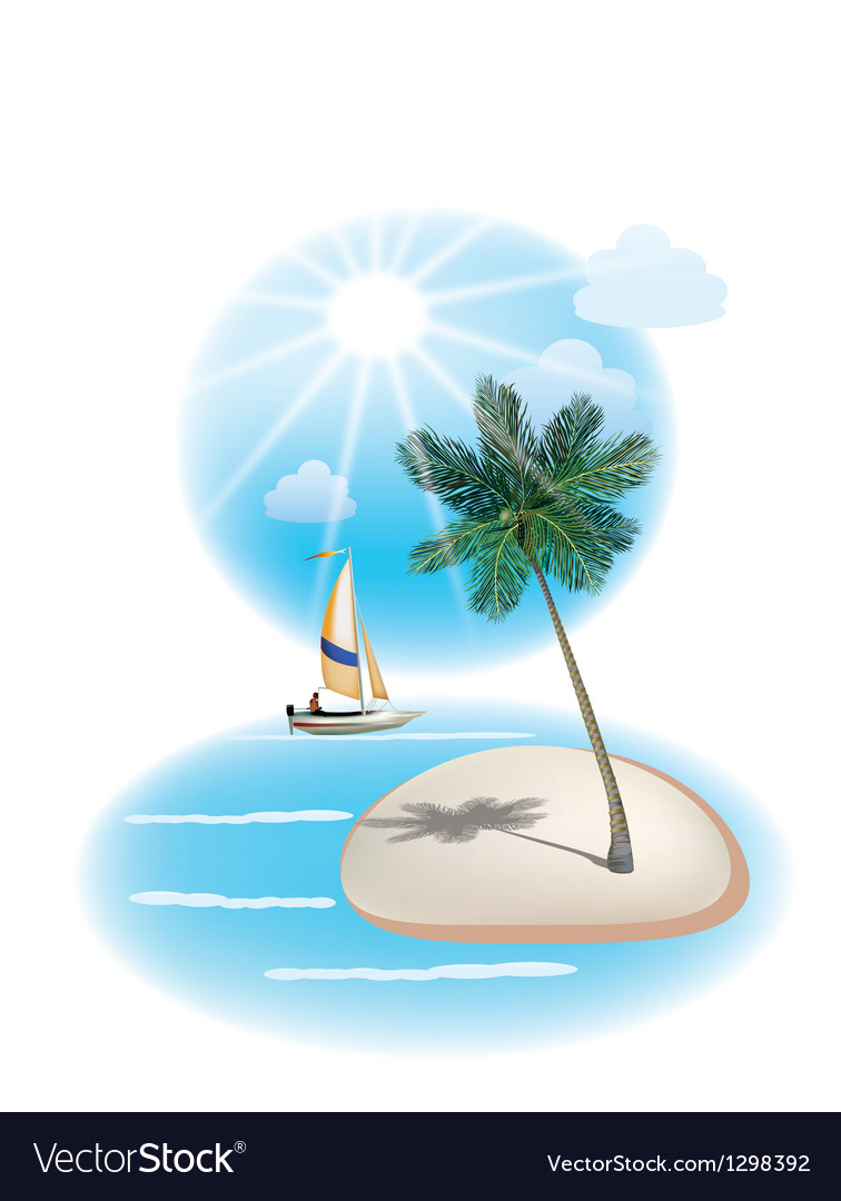 Travel the sea yachts palm trees vector | Price: 1 Credit (USD $1)