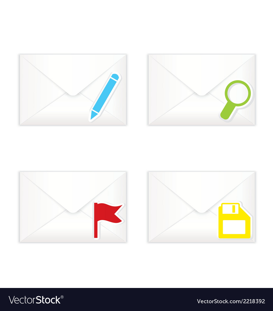 White closed envelopes with flag mark icon set vector | Price: 1 Credit (USD $1)