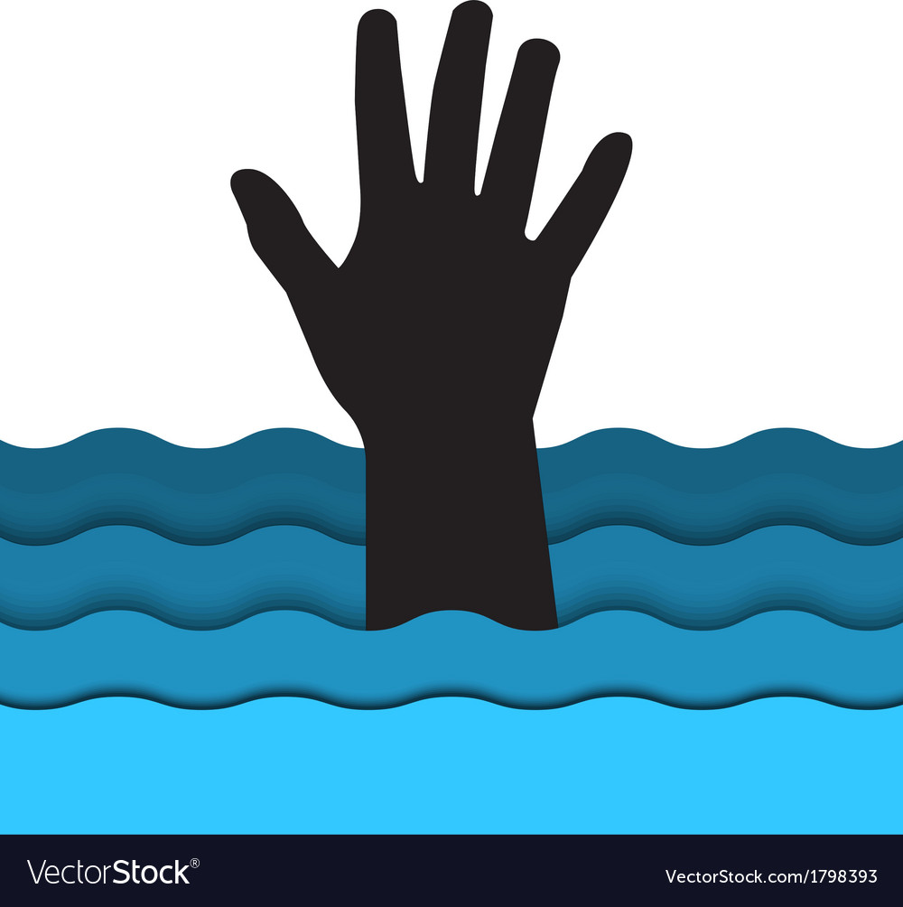 Drowning man hand sticking out of the water vector | Price: 1 Credit (USD $1)