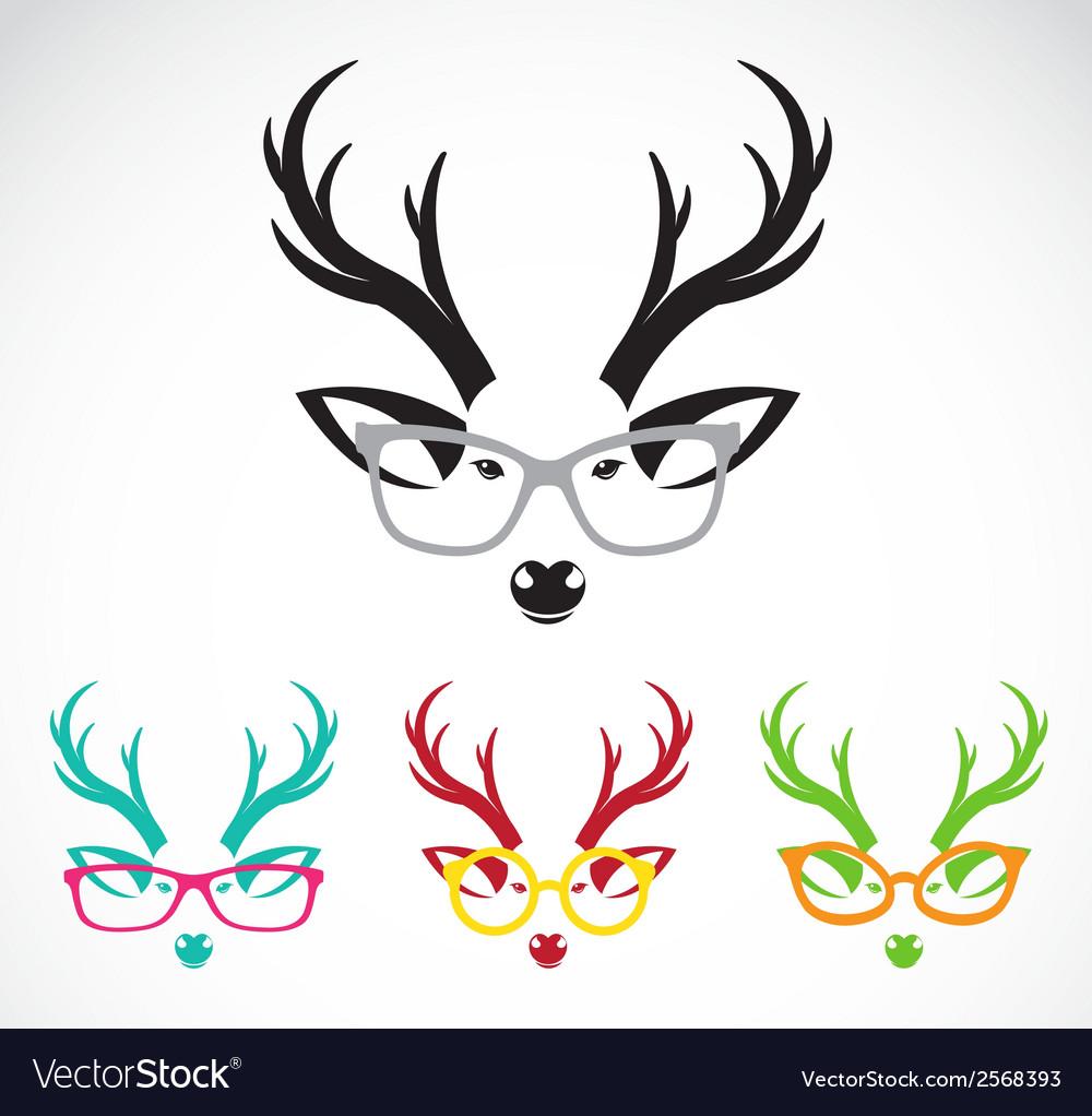 Images of deer wearing glasses vector   Price: 1 Credit (USD $1)