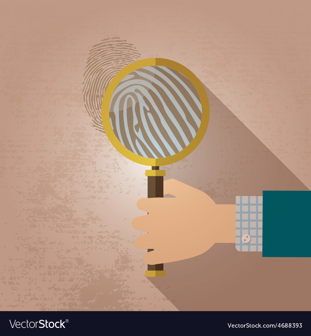 Magnifying glass and fingerprint vector | Price: 1 Credit (USD $1)