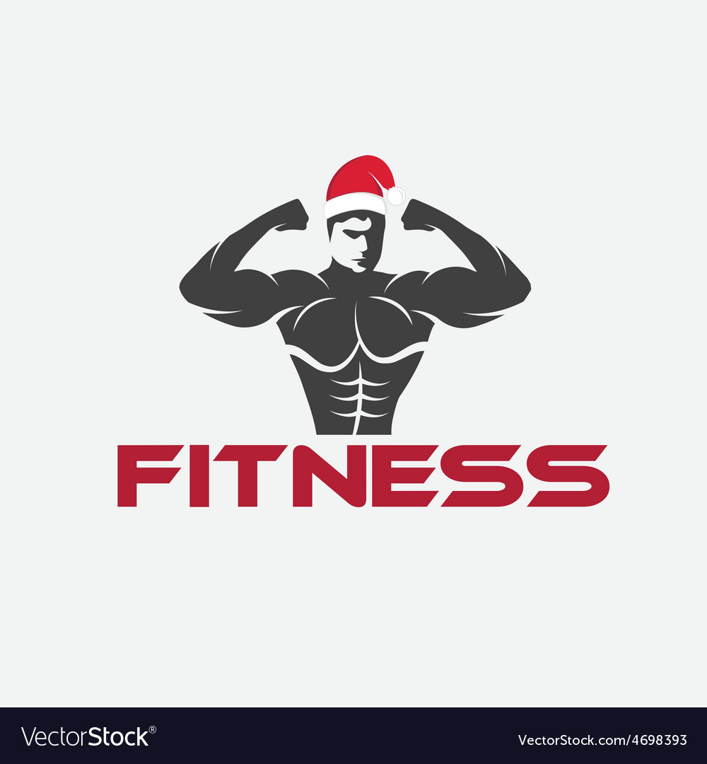 Man fitness silhouette character with merry vector | Price: 1 Credit (USD $1)