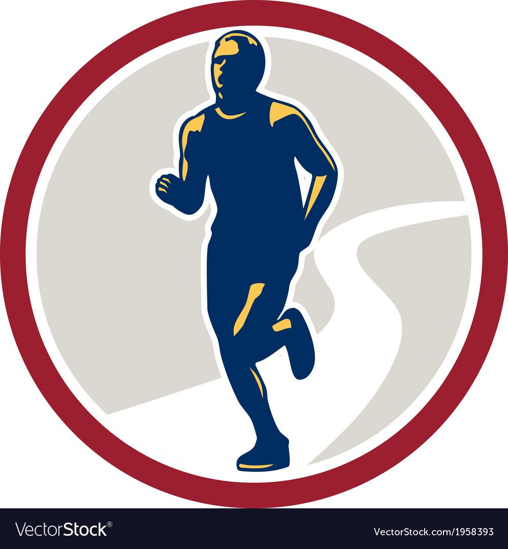 Marathon runner running circle retro vector | Price: 1 Credit (USD $1)