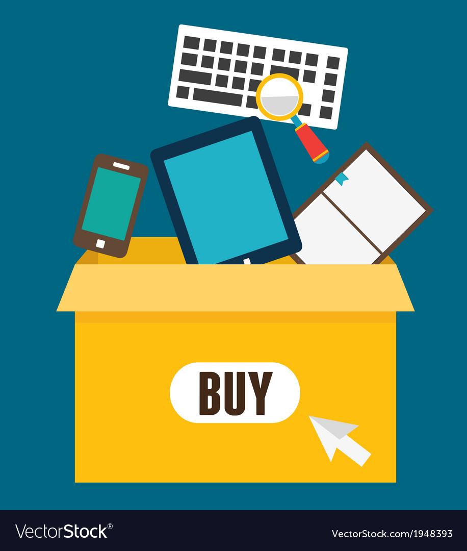 Online shopping add to box order and payment vector | Price: 1 Credit (USD $1)