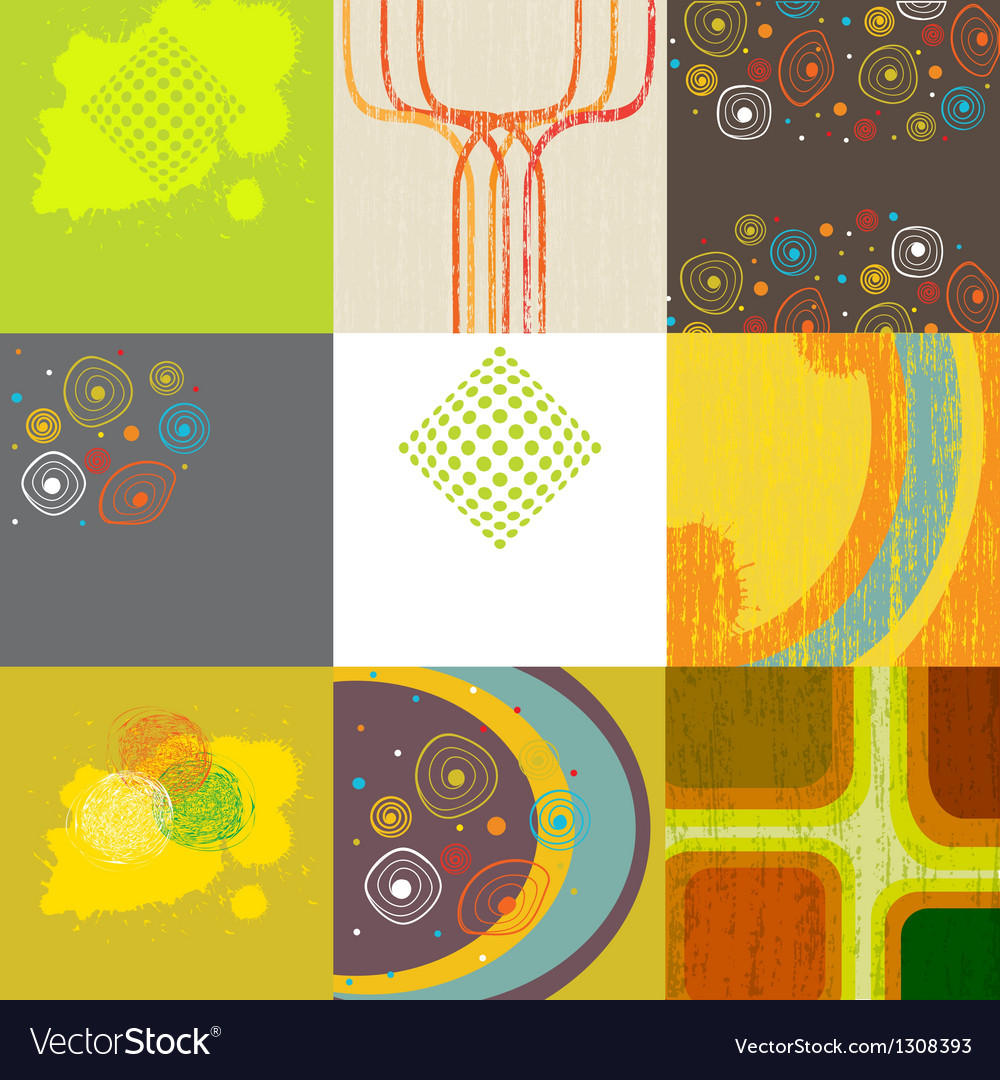 Set of 9 abstract grunge backgrounds vector | Price: 1 Credit (USD $1)