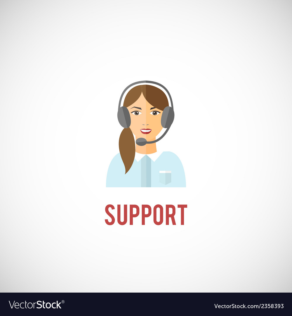 Technical support woman icon vector | Price: 1 Credit (USD $1)