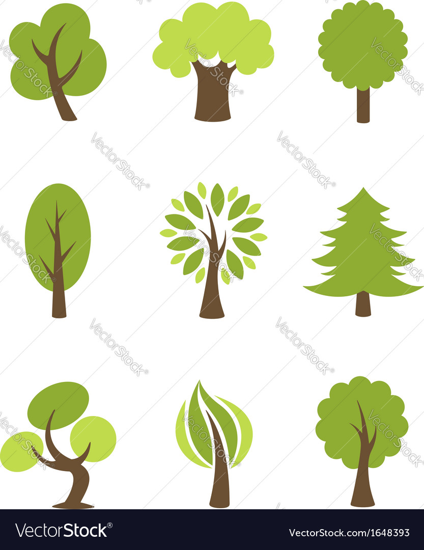 Tree icons set vector | Price:  Credit (USD $)