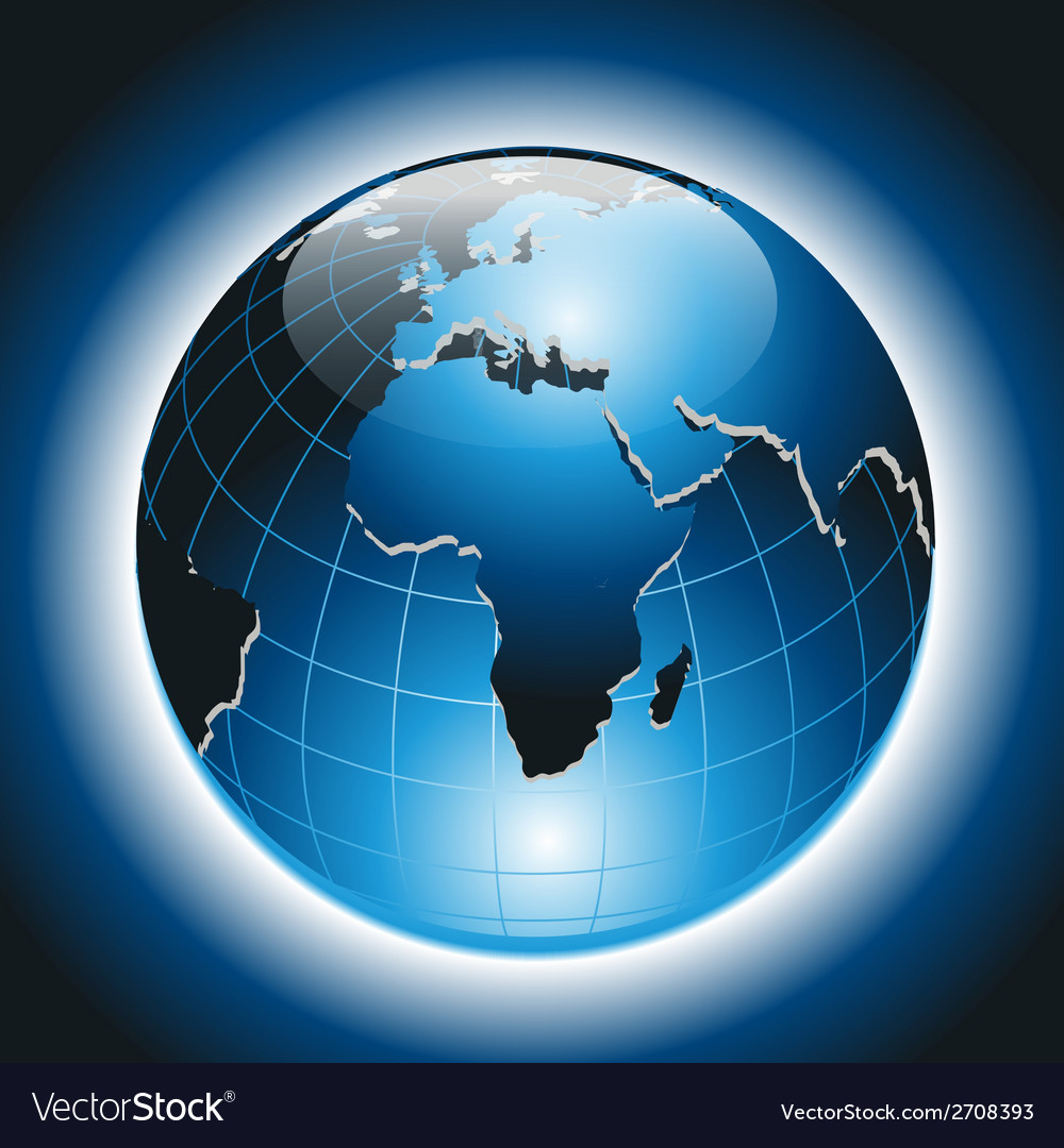 World globe on dark blue background vector | Price: 1 Credit (USD $1)