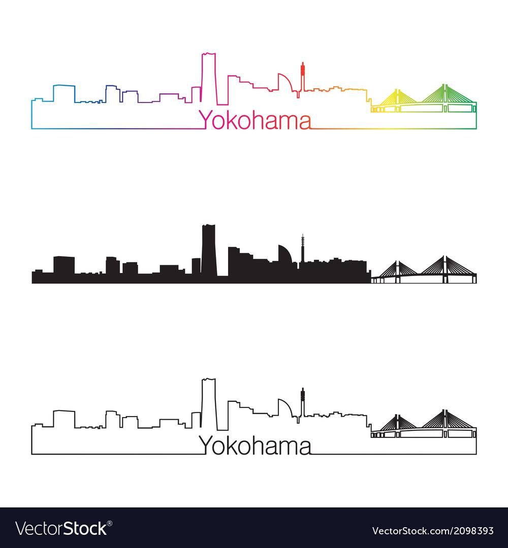 Yokohama skyline linear style with rainbow vector | Price: 1 Credit (USD $1)