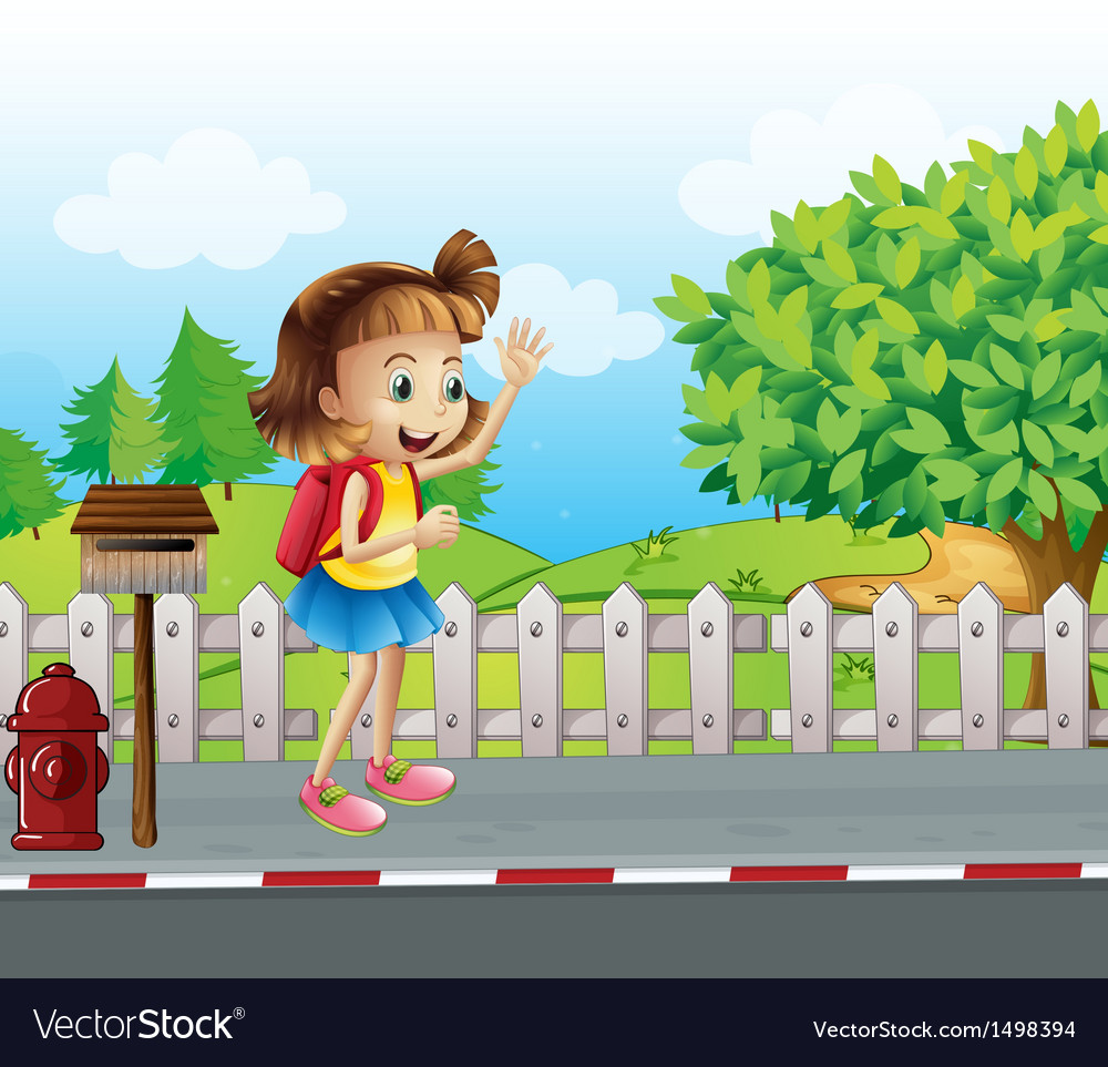 A cute little girl at the street beside the vector | Price: 1 Credit (USD $1)